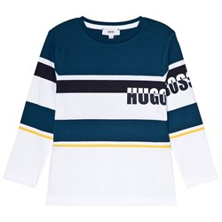 BOSS Teal and White Branded Long Sleeve Tee