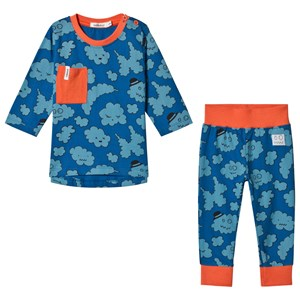 Image of Indikidual Blue Cloud Print Pajamas Set 12-24 months (3058026927)