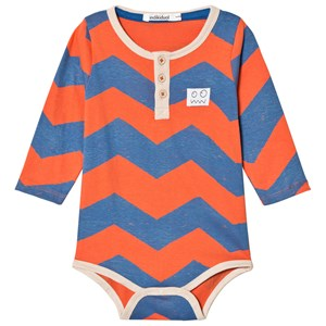 Image of Indikidual Blue and Red Zig Zag Stripe Baby Body 0-6 months (3058026989)