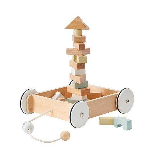 Kids Concept Pull Wagon with Wooden Blocks natural/white/grey