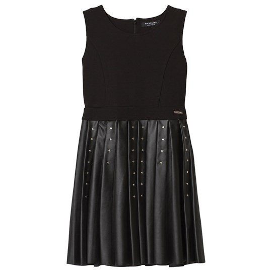 Guess Black Pleather and Jersey Studded Dress JBLK
