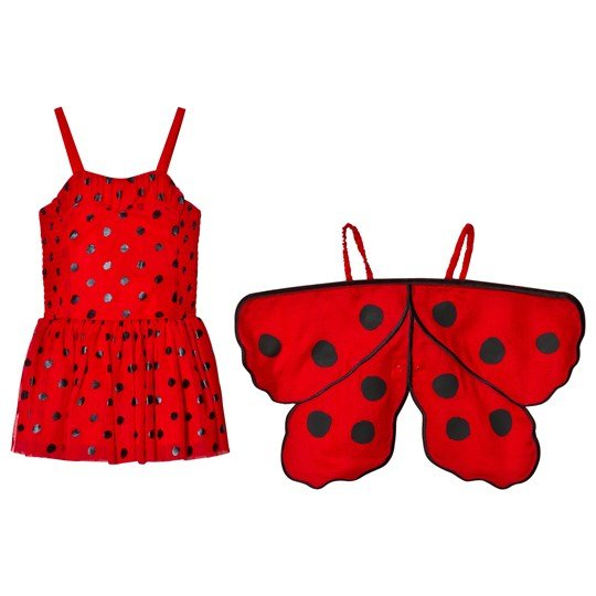 Stella McCartney Kids Red Ladybug Dress with Wings 6165 - Lady Bug Dots Pr