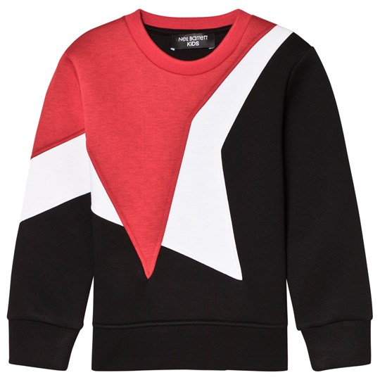 Neil Barrett Black Sweatshirt with Red and White Star 040/24