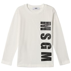 MSGM White Logo Long Sleeve Tee