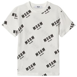 MSGM White Logo All Over Print Tee