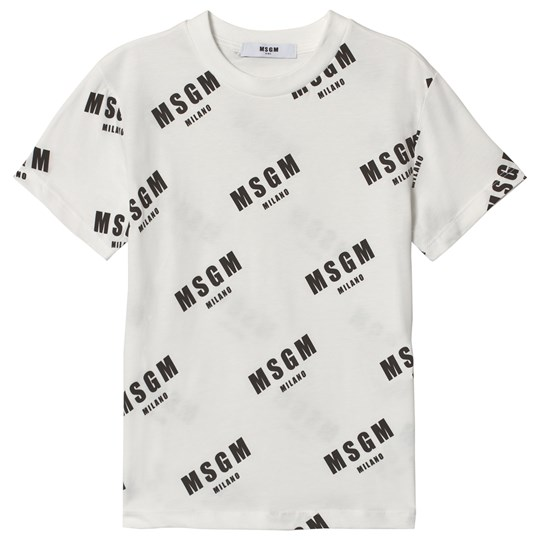 MSGM White Logo All Over Print Tee 2