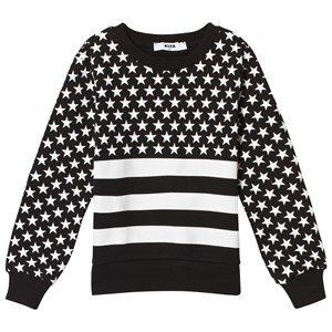 Image of MSGM Black and White Star Print Logo Sweatshirt 8 years (3058846089)