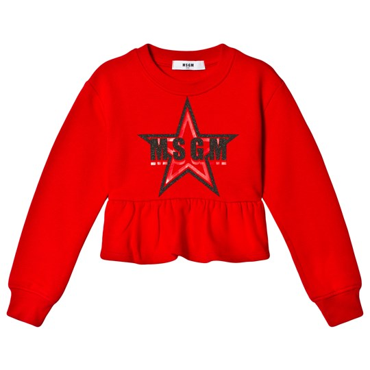 MSGM Red Glitter Star and Branded Peplum Cropped Top 40