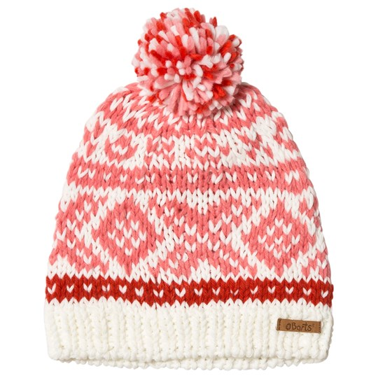 Barts White and Pink Patterned Log Cabin Beanie Mascarpone