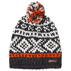 Barts Orange and Grey Patterned Log Cabin Beanie