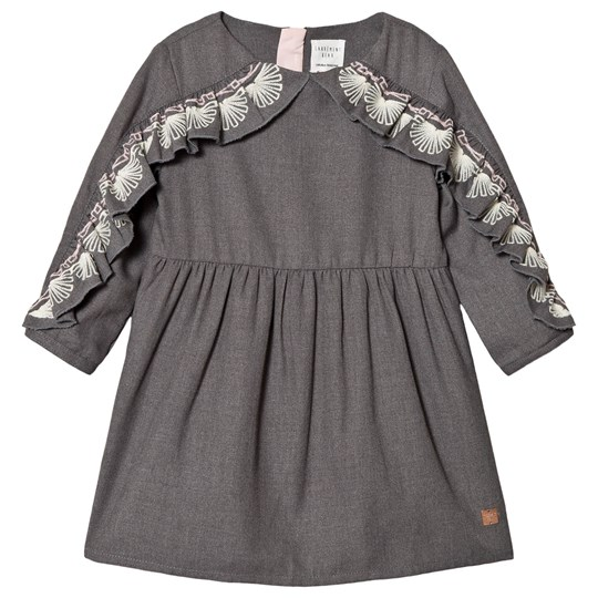 Carrément Beau Grey Embroidered Scallop Frill Detail Dress A39