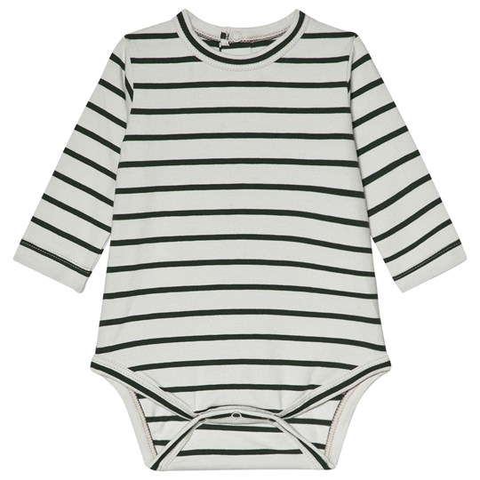 Tinycottons Small Stripes Baby Body Light Grey/Dark Green light grey/dark green