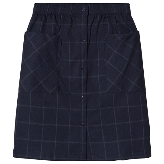Tinycottons Grid Flannel Button-Down Skirt Navy Navy