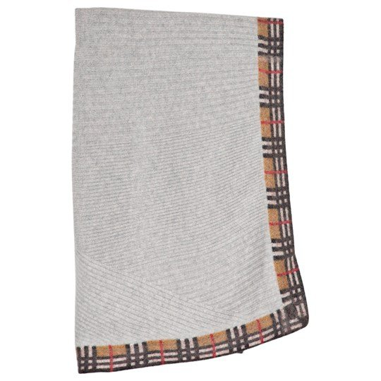 Burberry Grey Vintage Check Baby Blanket Light Grey Melange