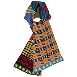 Burberry Blue Multi Pattern Scarf