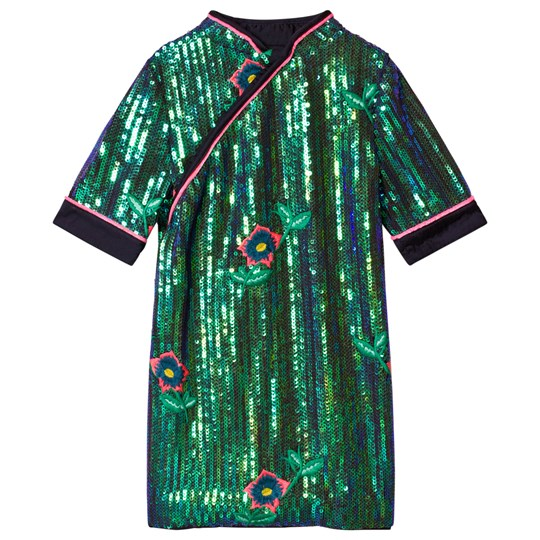 Billieblush Green and Navy Sequin Dress Z40