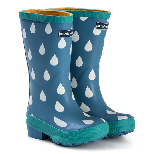 Muddy Puddles Puddlestomper Rain Boots Blue Raindrop Blue
