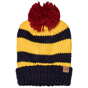 Image of Muddy Puddles Bobble Hat Navy/Yellow Stripe M-L (5-12 years) (3059476543)