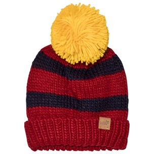 59dc353f71c Muddy Puddles. Bobble Hat Red Navy Stripe