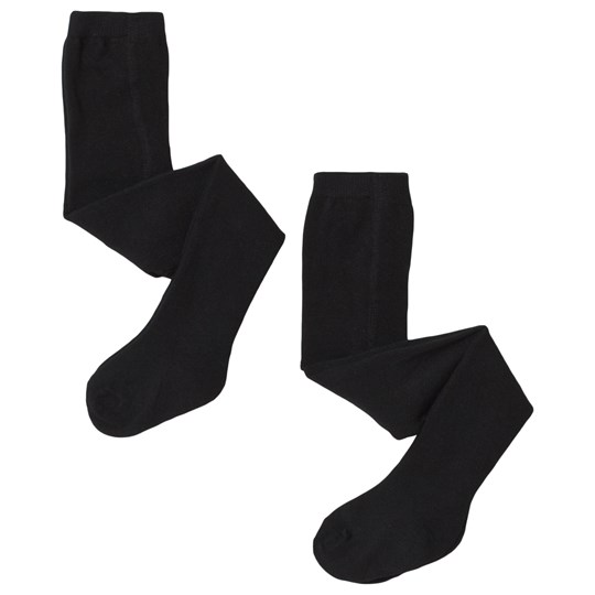 Melton Solid Black Tights 2-Pack Black
