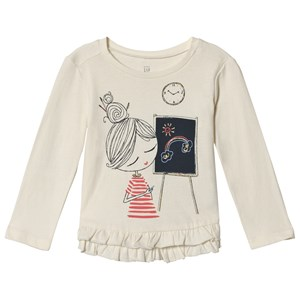 Image of GAP Ruffle Graphic T-Shirt Off White 2 år (3059478689)