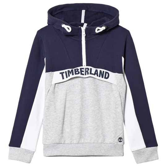 Timberland Navy and Grey Over The Head Branded Hoodie Z40