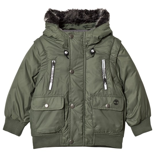 Timberland Khaki Water Repellent Hooded Coat with Detachable Sleeves 650