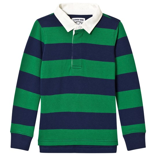 Lands' End Navy and Green Stripe Rugby Tee 50E