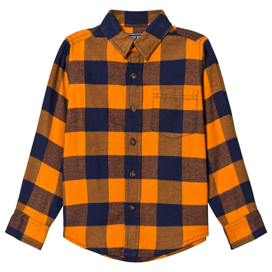 Lands' End Orange and Navy Check Flannel Shirt A3W