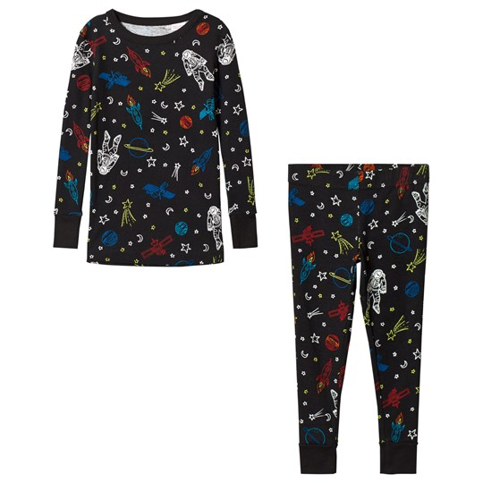 Lands' End Black Space Glow in the Dark Space Pajamas 5PO