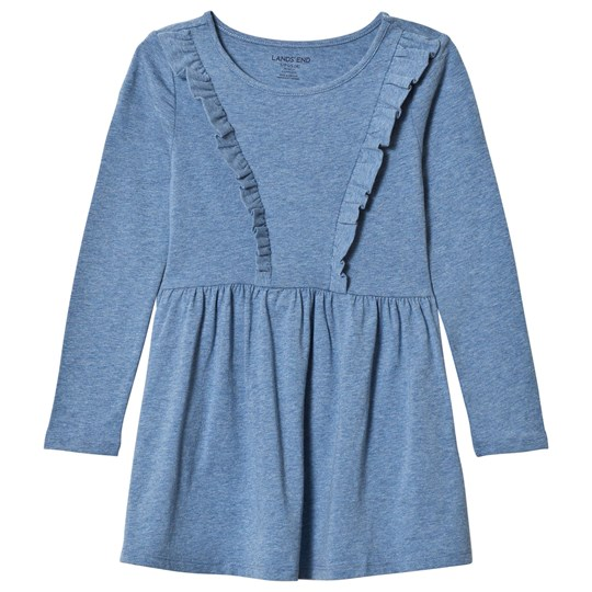 Lands' End Light Blue Marl Ruffle Dress S63