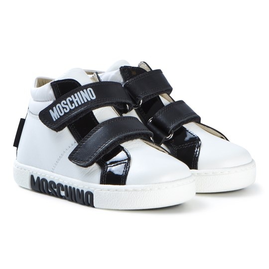 Moschino Kid-Teen White and Black Branded Velcro Hi-Top Sneakers 9103
