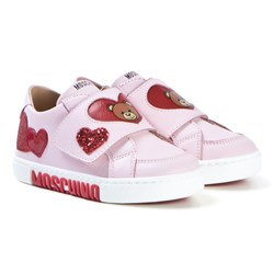Moschino Kid-Teen Pink Heart and Bear Velcro Sneakers