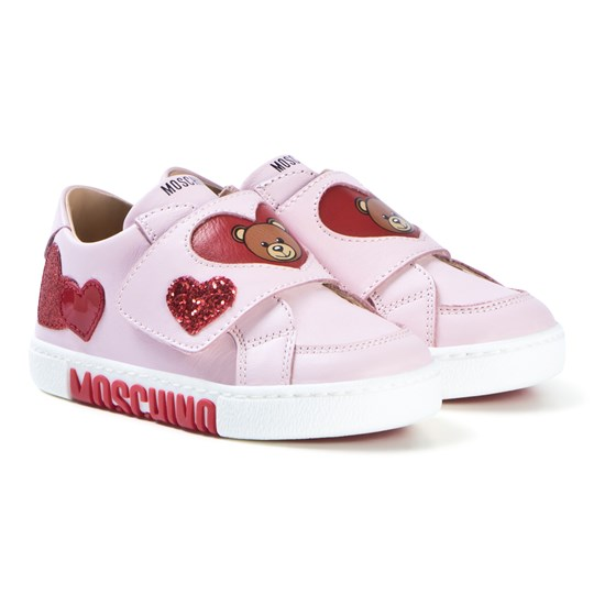 Moschino Kid-Teen Pink Heart and Bear Velcro Sneakers 9101