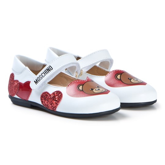 Moschino Kid-Teen White Bear Heart Glitter Shoes 9102
