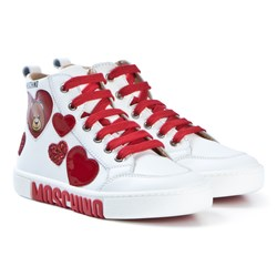 Moschino Kid-Teen White and Red Bear and Heart Hi-Top Sneakers
