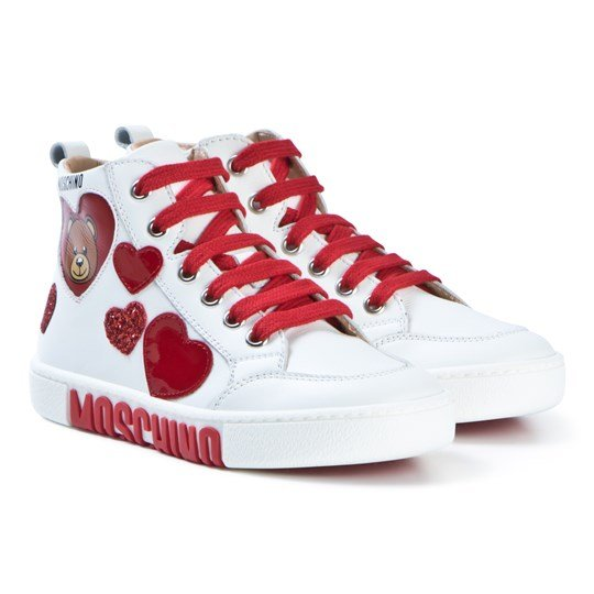 Moschino Kid-Teen White and Red Bear and Heart Hi-Top Sneakers 9101
