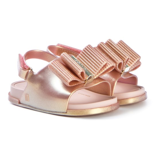 Mini Melissa Beach Slide Lurex Sandals Rose Gold Rose Gold