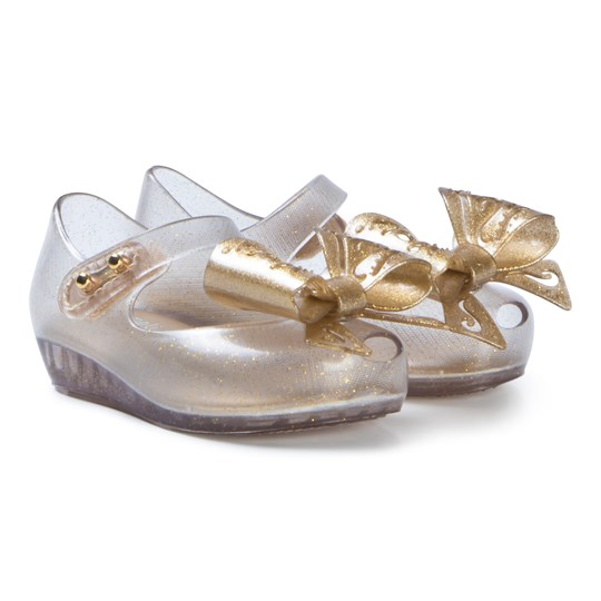 Mini Melissa Soft Gold Glitter Fairy Bow Shoes SOFT GOLD GLITTER