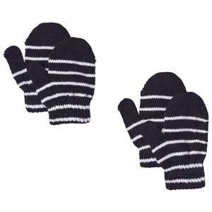 Image of Lindberg 2-Pack Magic Stripe Wool Mittens Navy 12 cm (1-3Y) (1187482)