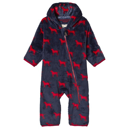 Hatley Red Labs Fuzzy Fleece Onesie Marinblå/Röd Navy