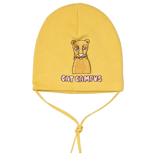 Mini Rodini Cat Campus Patch Beanie Yellow Yellow