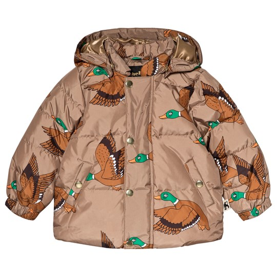 Mini Rodini Ducks Puffer Jacket Brown BROWN