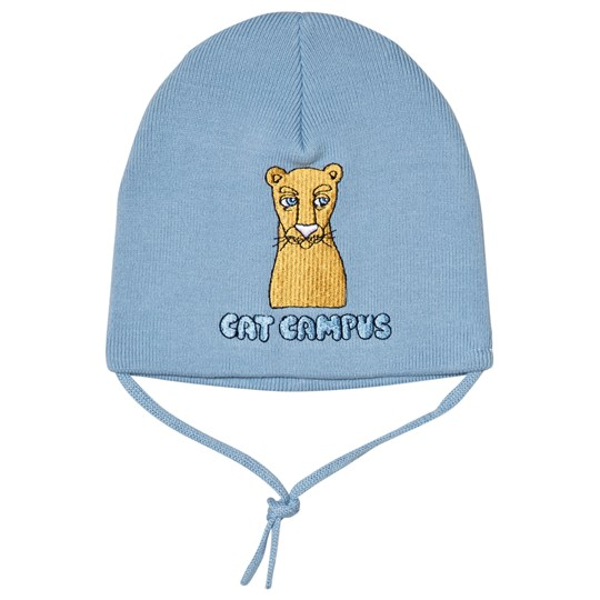 Mini Rodini Cat Campus Patch Beanie Blue Light Blue