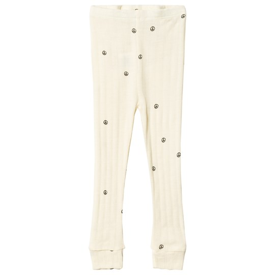 Mini Rodini Peace Pointelle Wool Leggings White White