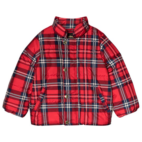 Mini Rodini Check Puffer Jacket Red Red