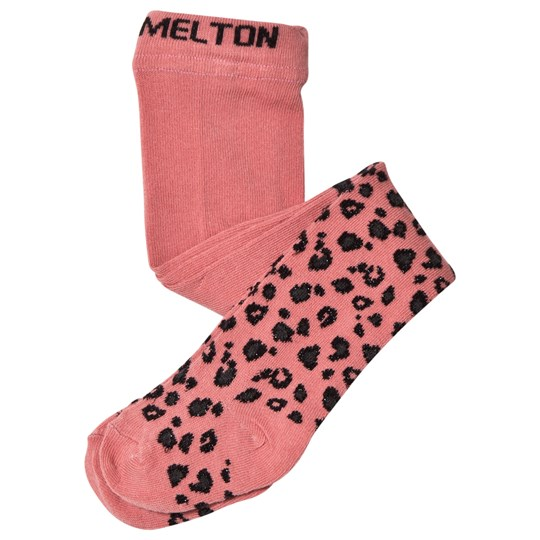 Melton Leopard Lurex Tights Pink Dusty Rose