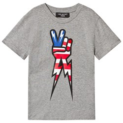 Neil Barrett Grey American Flag Peace Hand Marl Tee