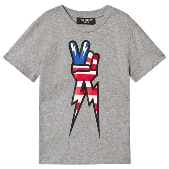 Neil Barrett Grey American Flag Peace Hand Marl Tee 101