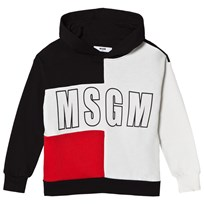 MSGM Black and White and Red Logo Hoodie 110 07 90a8c9f8ec